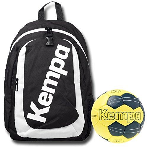 Kempa zaino nero con Ball rete per bambini con pallamano petrol/giallo, Nero/Giallo