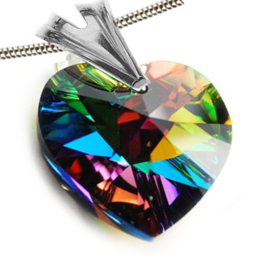 Royal Crystal Austrian Zircon Christmas Lights with Authentic Swarovski Crystal Elements My Sweetheart Green Yellow Red Magenta Topaz Blue Peony Pink Crystal Love Heart Pendant Necklace Necklate 18