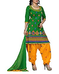 Clothing Deal Women's Cotton Unstitched Dress Material (Green)