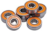 Skateboard, Penny Board and Longboard Bearings Pro Competition Quality for Precision and Speed - Pack of 8 - abec 7 - Upgrade or Revive Your Old board - 100% Satisfaction Warranty