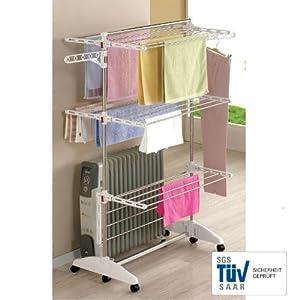 One Click Luxus Wäscheständer E3, Wäscheturm, Wäschespinne mit 3 Ebenen    Kundenbewertung und weitere Informationen