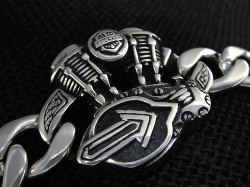 The Biker Metal 316L Stainless Steel Motorcycle Engine Bracelet for Harley Motor Biker TB-84 by Priority Mail