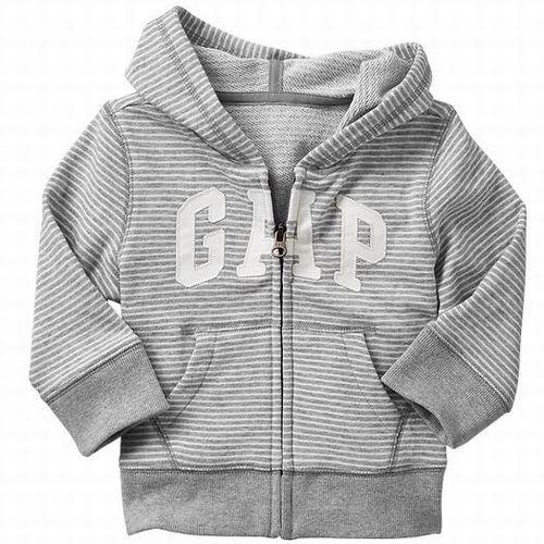 GAP(ギャップ)baby GAP フード付き ロゴ ボーダー パーカー(灰色×白色) (18-24M(1歳半-2歳), 灰色)