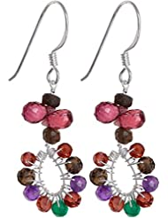 Exotic India Faceted Gemstone Earrings (Smoky Quartz, Garnet, Amethyst And Green Onyx) - Sterling Si