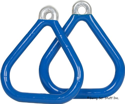 Commercial Coated Triangle Trapeze Rings (Pair) (Blue) With Sss Logo Sticker