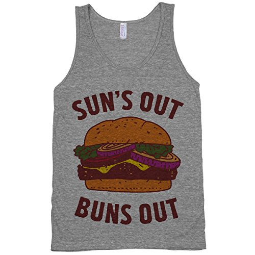 Human Sun'S Out Buns Out Athletic Grey Small Tank Top