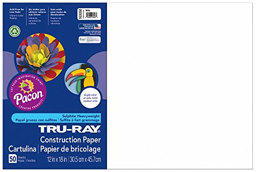 "Tru-Ray Construction Paper, 12""X18"", White, 50 Sheets - 1"