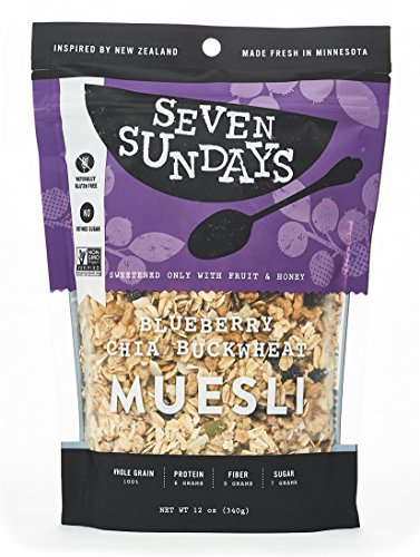 Seven Sundays Muesli - Blueberry Chia Buckwheat - Non-GMO Certified, Gluten Free, Hot or Cold Breakfast Muesli {12 oz. pouches, 1 Count} (Gluten Free Muesli compare prices)