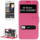 Custodia cover flip magnetic case con di view FUCSIA per Huawei Ascend G630