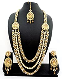 Geruaa 3 Liner Golden White Stone Long Wedding Bridal Choker Jewelry Necklace Set With Maang Tikka - Glsn02_lwt