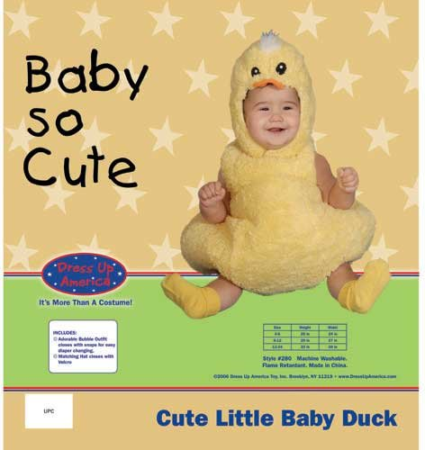 Dress Up America Halloween Cute Little Baby Duck Costume Set - 0-6 Mo.