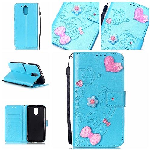Cozy-Hut-HandyhlleLederhlle-Ledertasche-Hlle-Case-Cover-Etui-Tasche-fr-Motorola-Moto-G4-Hlle-Mit-Diamant-Schmetterling-Muster-Schutzhlle-Handyhlle-Taschen-Schalen-Handy-Tasche-Flip-Wallet-Stil-case-Le