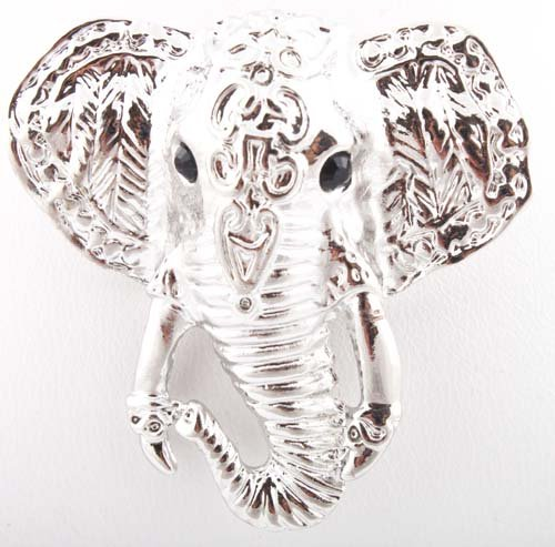 Ladies Silver Elephant Face Brooch & Pin Pendant