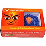 Holy Krishna's Red Sandalwood Mala 108 Beads Religious Rosary Mala+ Free Laxmi ATM YANTRA Free