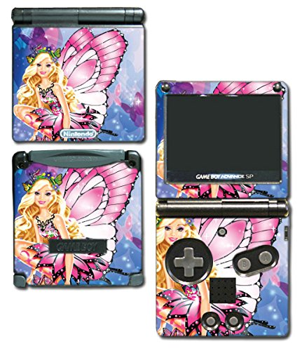 Barbie Butterfly Pink Dress Doll Video Game Vinyl Decal Skin Sticker Cover for Nintendo GBA SP Gameboy Advance System