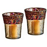 Christmas Lighting - Alhambra Mosaic Glass Trimmed Votive Candle Holder Set