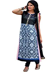 Pagli Multicolor Straight Long Cotton Suit In Printed Cotton Fabric