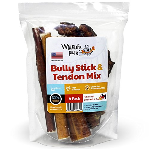 Wyldlife Pets Bully Sticks & Beef Tendons for Dogs Combo Pack, 100% Natural and Free Range (6-Pack) (Instinct Dehydrated Dog Food compare prices)