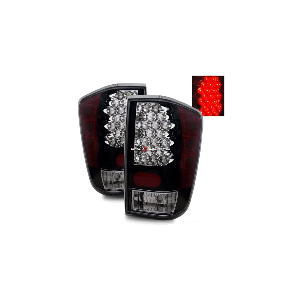 04 09 Nissan Titan LED Tail Lights   Black Automotive