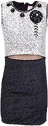 Sheetal Fashion Girls' Sequence & Suede Dress (SF-44_3-4 Years, Black & Silver)