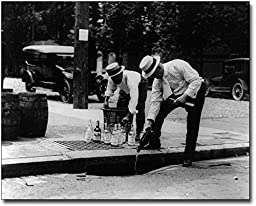 Prohibition Pouring Whiskey Into a Sewer 8x10 Silver Halide Photo Print