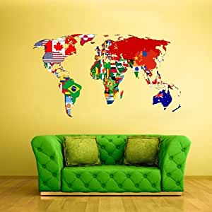Full color wall decal mural sticker decor art for Amazon world map mural