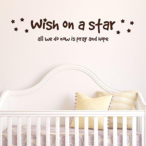Desiderio su una stella adesivo da parete by stickerstudio, Forest Green, Medium 144cm x 28cm