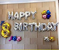 My Party Suppliers Premium Quality Happy Birthday Silver Letter Foil Balloon - 13 Individual Letter