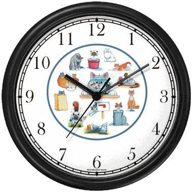 Cartoon Cat Collage Cat - JP - Wall Clock by WatchBuddy Timepieces (Hunter Green Frame)