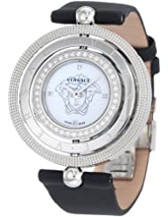Versace Women's 80Q91SD497 S009 Eon 3 Rings Diamond Bezel and Black Satin Watch