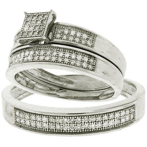 0.33 Carat (ctw) Sterling Silver Round White Diamond Men's & Women's Micro Pave Engagement Ring Trio Bridal Set