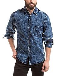 Prym Men's Casual Shirt (8907423012622_2011502422_Large_Indigo with Acid Wash)