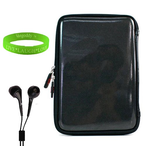 Newly Designed Black Zipper Cube Carrying Case for Coby Kyros (MID7024) + Compatible Headphones and Vangoddy Live*Laugh*Love Wristband