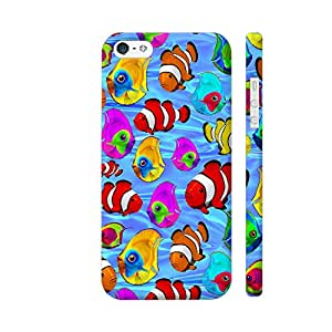 Colorpur Tropical Fishes Cartoon Pattern Printed Mobile Back Cover For Apple iPhone SE (Matte Multicolor)