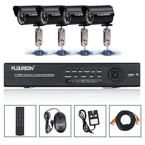 FLOUREON 8CH Full D1 H.264 CCTV DVR +4 Outdoor Waterproof Camera HDMI WiFi 3G Security Kit Black Friday & Cyber Monday 2014