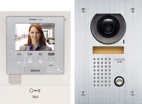 Aiphone Jfs-2Aedf Audio/Video Intercom System With Flush-Mount Door Station With Stainless Steel Faceplate For Single Door, Accepts An Additional Door Station And Up To Two Sub-Master Stations front-794644