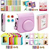 Mini 8 Accessories, Katia 9 in 1 Camera Bundles Set, Camera Case/Photo Album/Selfie Len/Wall Hang Frame/Border Sticker/Filter/Camera Strap Set10 Pink