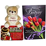 Birthday Gifts For Girlfriend - Birthday Greeting Card, Birthday Soft Teddy And Birthday Quotations