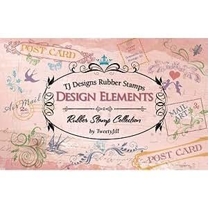 Tj designs rubber stamp set design elements for Rubber stamps arts and crafts