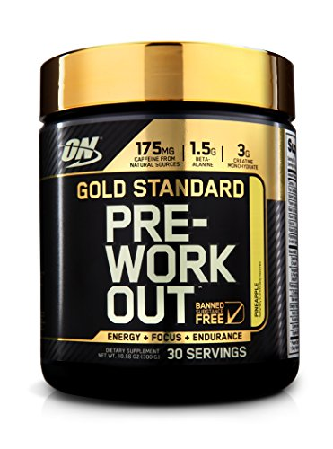 Optimum Nutrition Gold Standard Pre-Workout 30 Serve Supplement, Pineapple, 300 Gram
