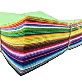 42pcs 6 x 6 inches (15cm15cm) Felt Fabric Sheet Assorted Color Felt Pack DIY Craft Squares Nonwoven