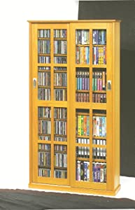 Sliding Door Inlaid Glass Mission Multimedia Cabinet (MS-700 Series) Oak