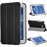 tinxi® Housse en PU similicuir pour Samsung Galaxy Tab 3 Lite T110 T111 T113 T116 7 pouces (20,32cm) housse de protection Noir (Ne convient pas pour Samsung Tab 3 7.0 T210 T211 7.0 pouces)