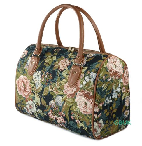 Tapestry Weekend Holdall/Hand Luggage/Travel Cabin Bag (medium) Moon Flowers - Gobelin Style