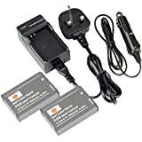DSTE® 2x FXDC02 Rechargeable Li-ion Battery + DC143U Travel and Car Charger Adapter DC143U for DRIFT HD GHOST DSLR Digatal Camera