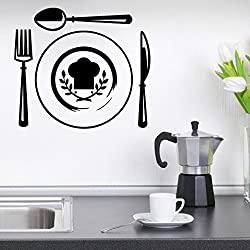 Decor Kafe Cutlery Wall Stickers Colour - Black 16*14(inch)