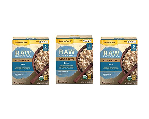 Betteroats Raw Pure & Simple Organic Bare Instant Multi Grain Hot Cereal With Flax 10 Count (3 Pack Total 30 Pouches)