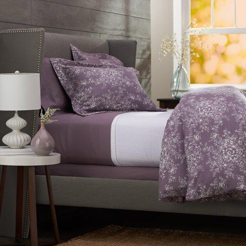Pinzon 160-Gram Printed 100-Percent Cotton Flannel Duvet Cover, King, Floral Lavender front-957833