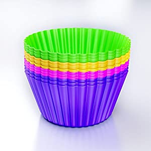 Muffin Cups Liners -Silicone Cupcake Baking Cups Molds -Set of 12 Pack - Lifetime Guarantee