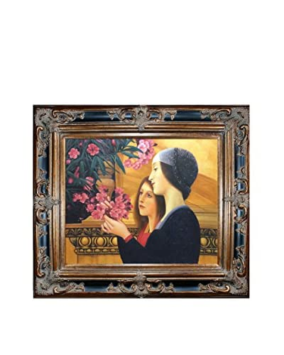 Gustav Klimt's Two Girls With An Oleander (Right Detail) Framed Hand Painted Oil Canvas, Multi, 31.5″ x 35.5″
